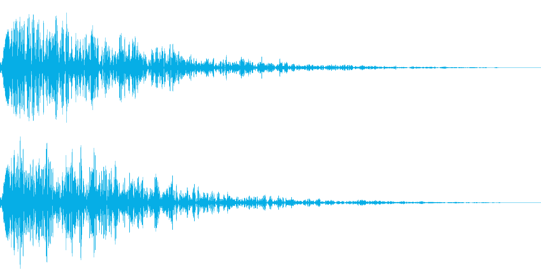 【ドーン】残響の効いたインパクト音の再生済みの波形