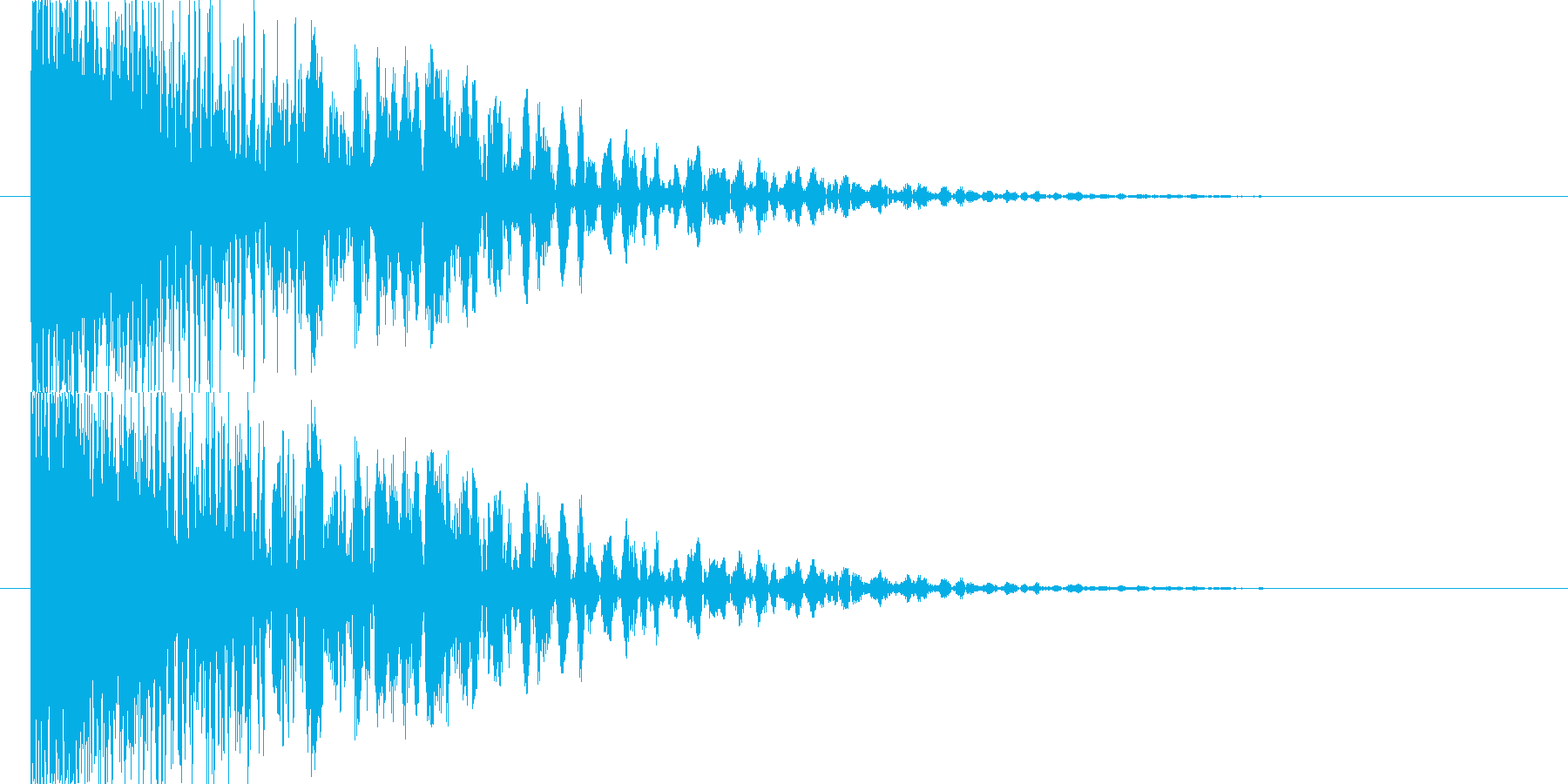 衝突音の後にゴロゴロとした余韻の再生済みの波形