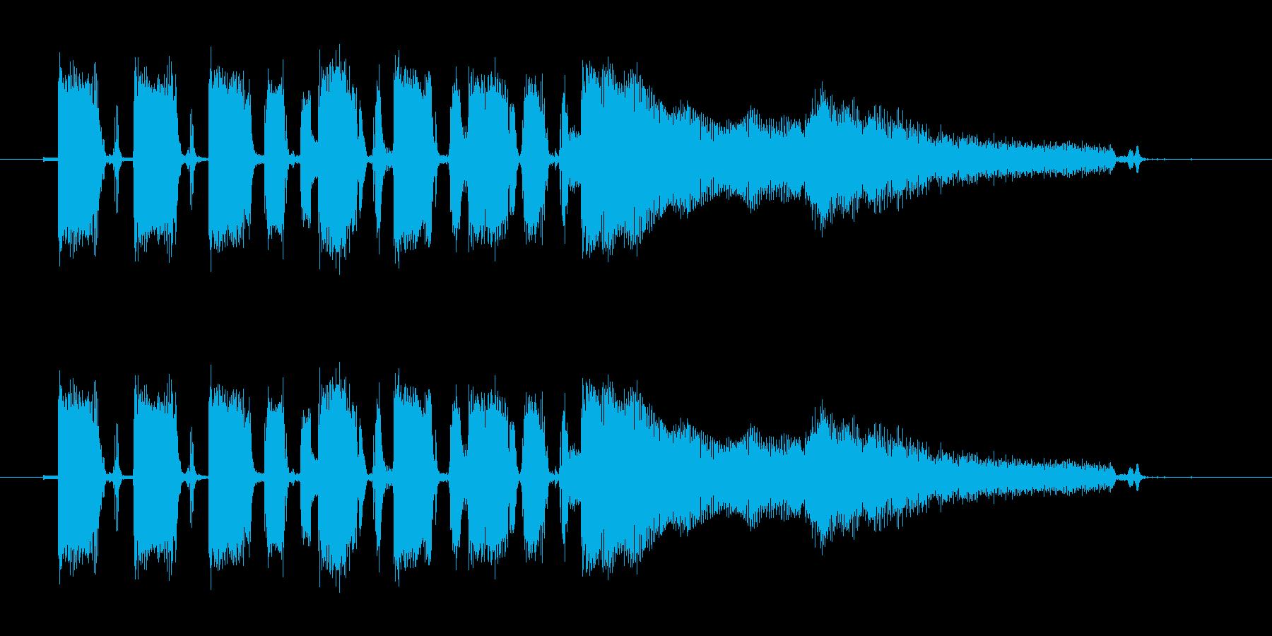 テープで録音されたようなギターのジングルの再生済みの波形