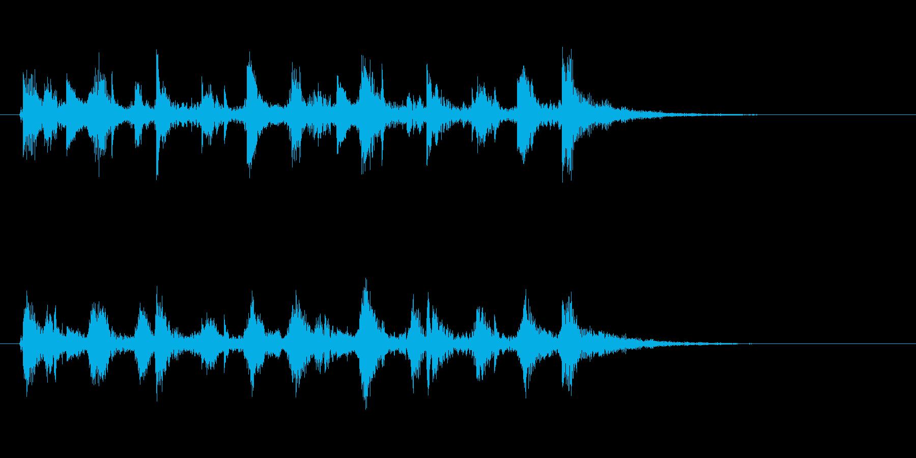 ピチカート音の清涼感のあるジングルの再生済みの波形
