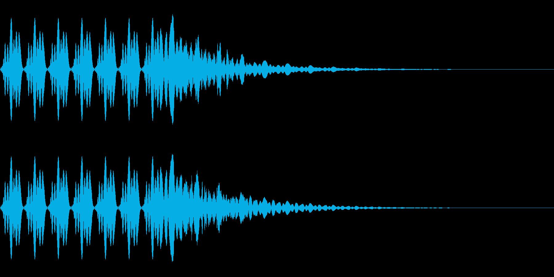 連続でパチンコで鳴りそうなキュイーンの再生済みの波形