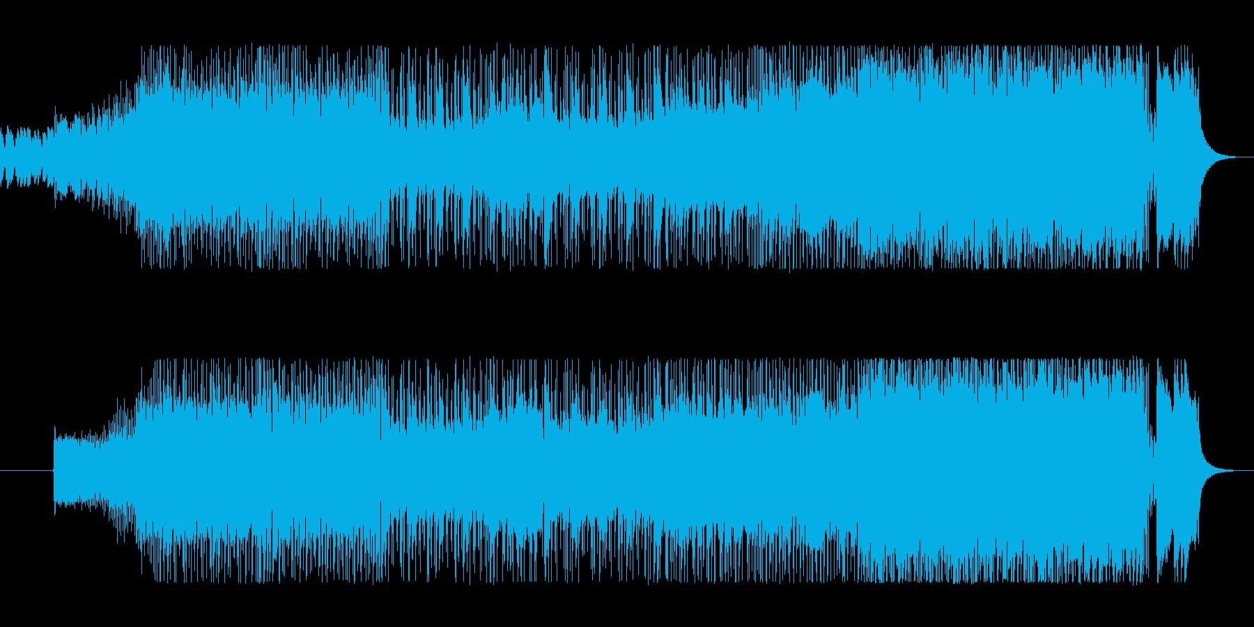 タイトなドラムとギターのハードロックの再生済みの波形