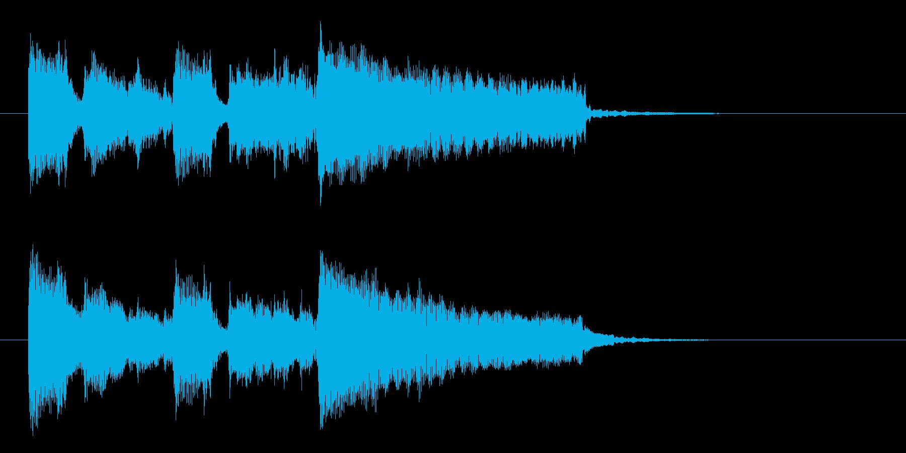 明るく軽やかな短めのアップテンポな曲の再生済みの波形