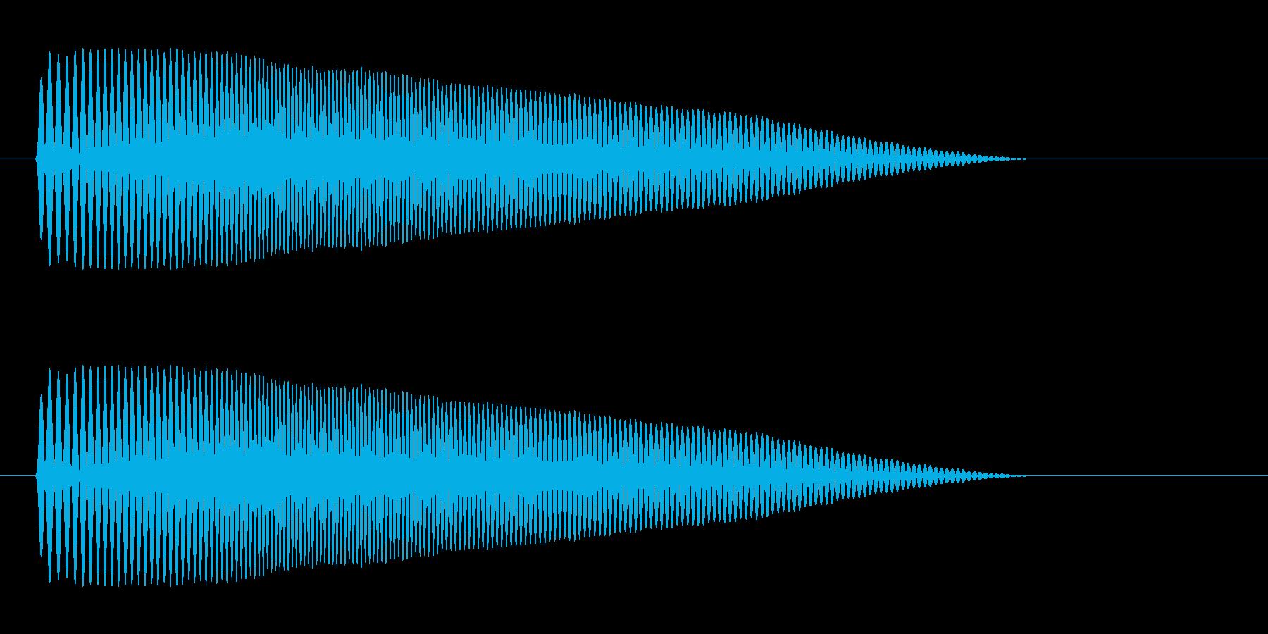 ポヨーンというコミカルで柔らかな音の再生済みの波形