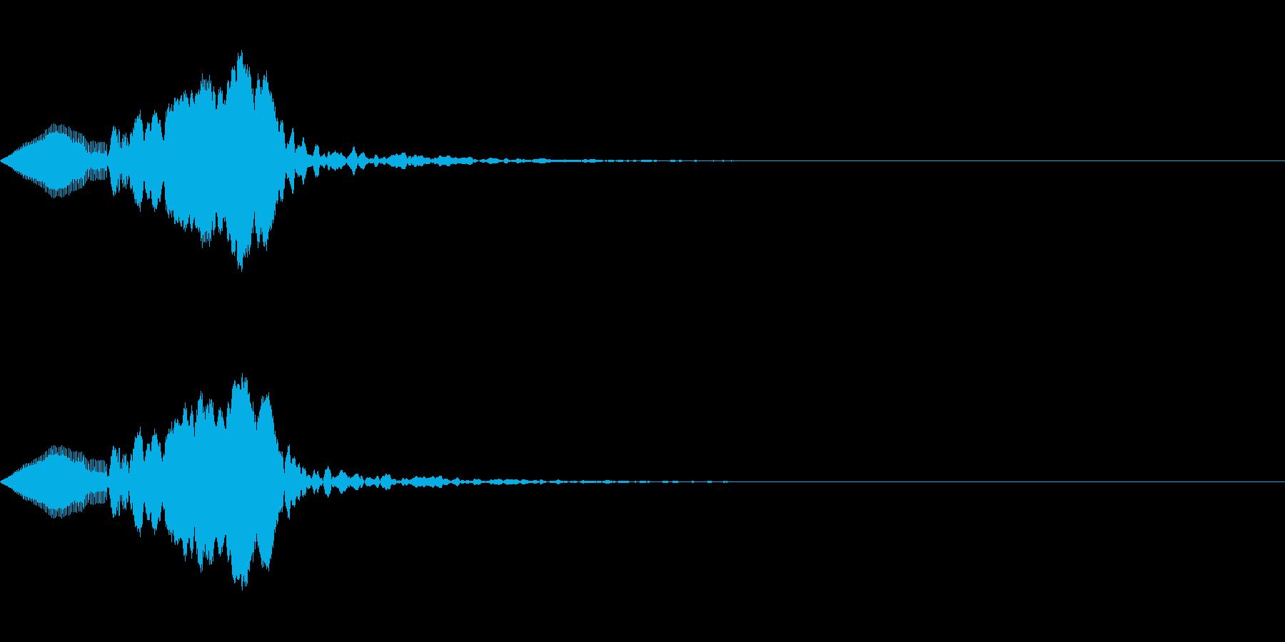 クリック、ボタン、アタック音(ぷわん)の再生済みの波形