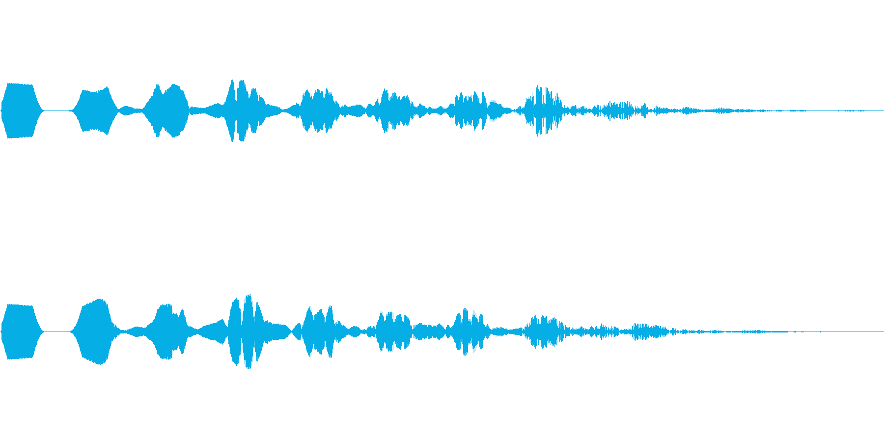 ヒューン 巻き戻しキャンセル落下 決定音の再生済みの波形