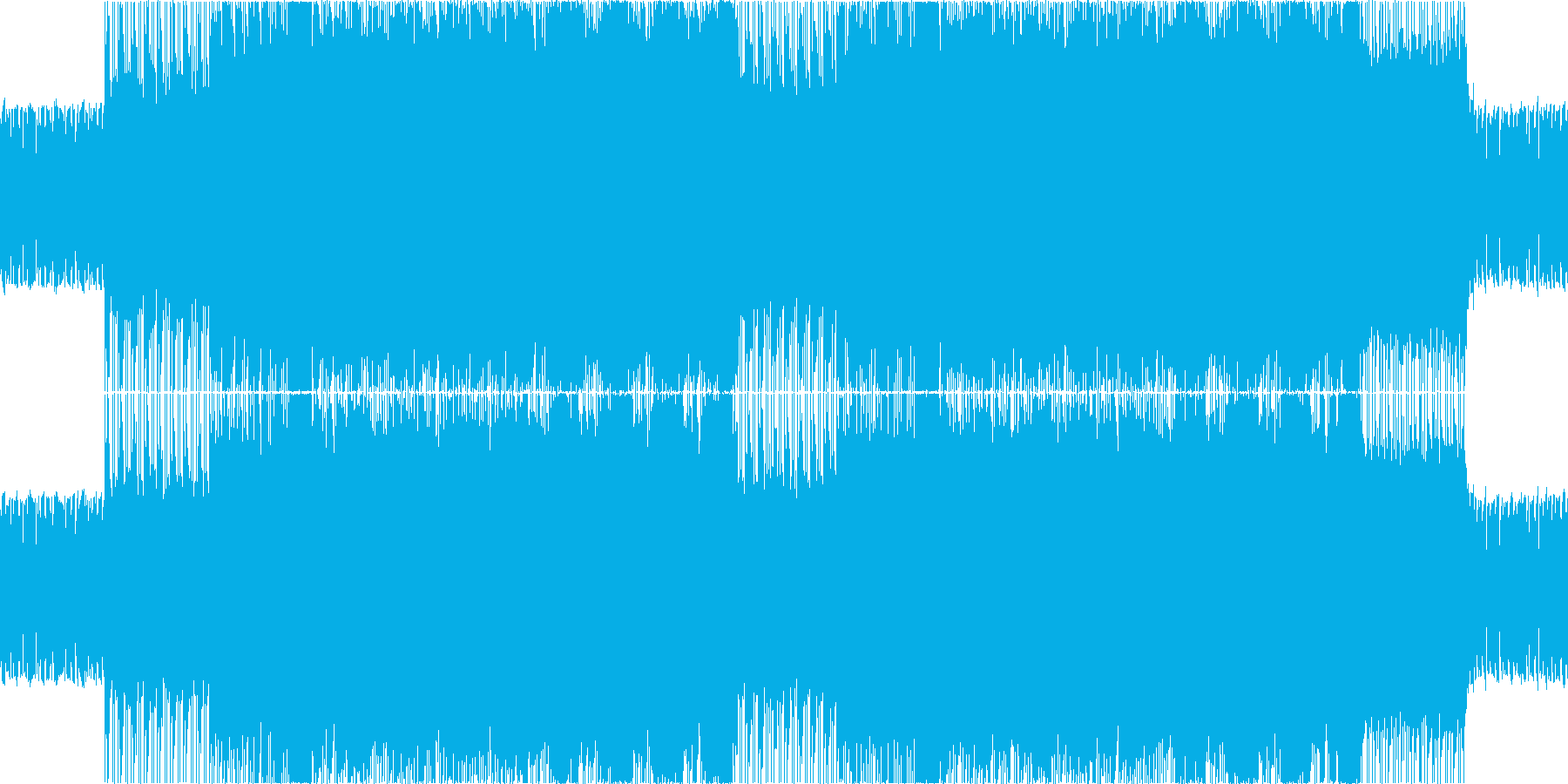 激しいドラムンベース風BGMの再生済みの波形