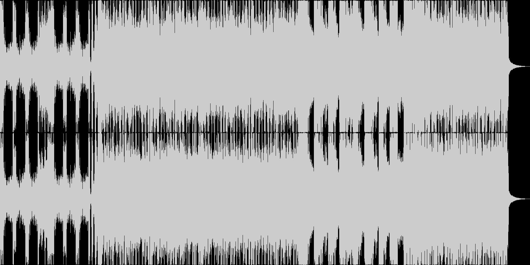 激しいギターリフで展開するハードロック曲の未再生の波形