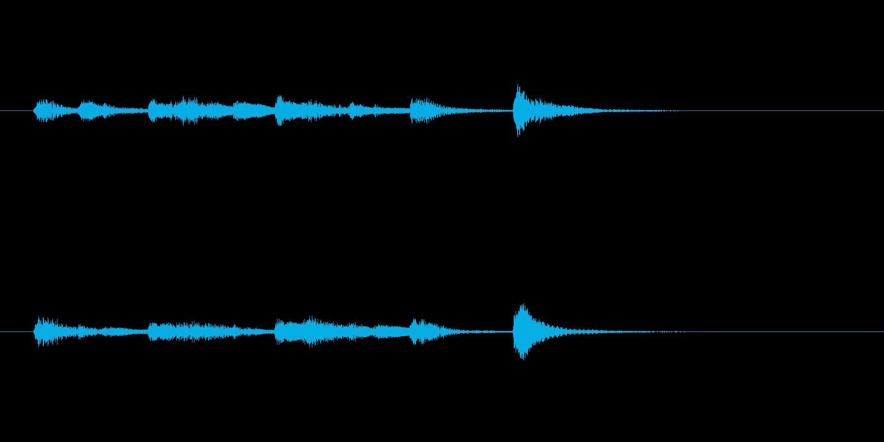 ピアノのエンディングの再生済みの波形