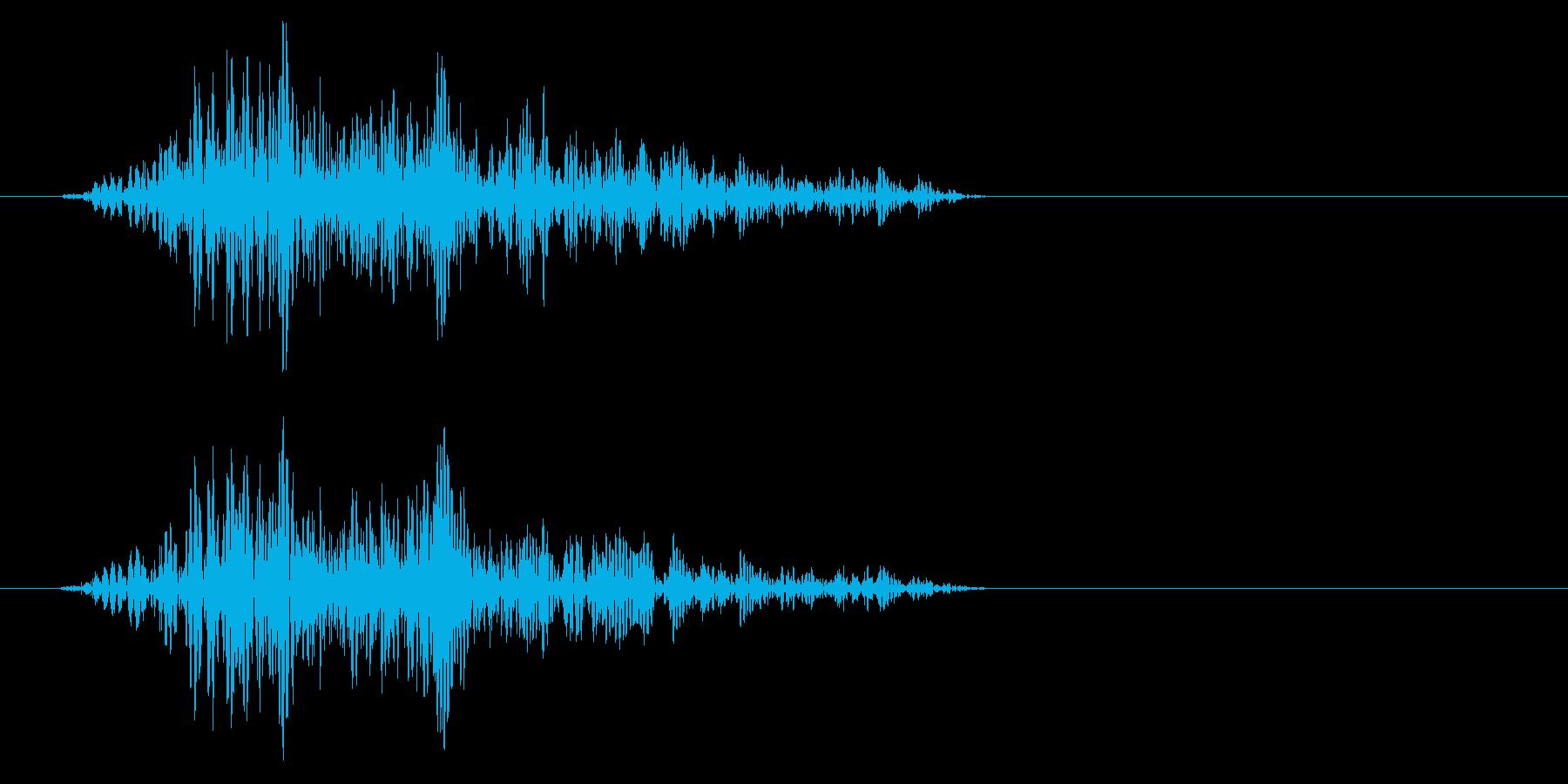ヒュッ(空を切るような風切り音)の再生済みの波形