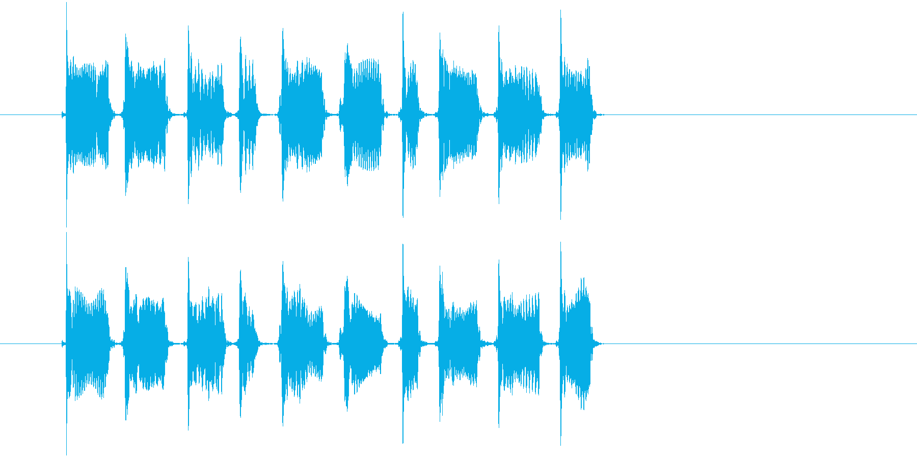 サンバホイッスルの音の再生済みの波形