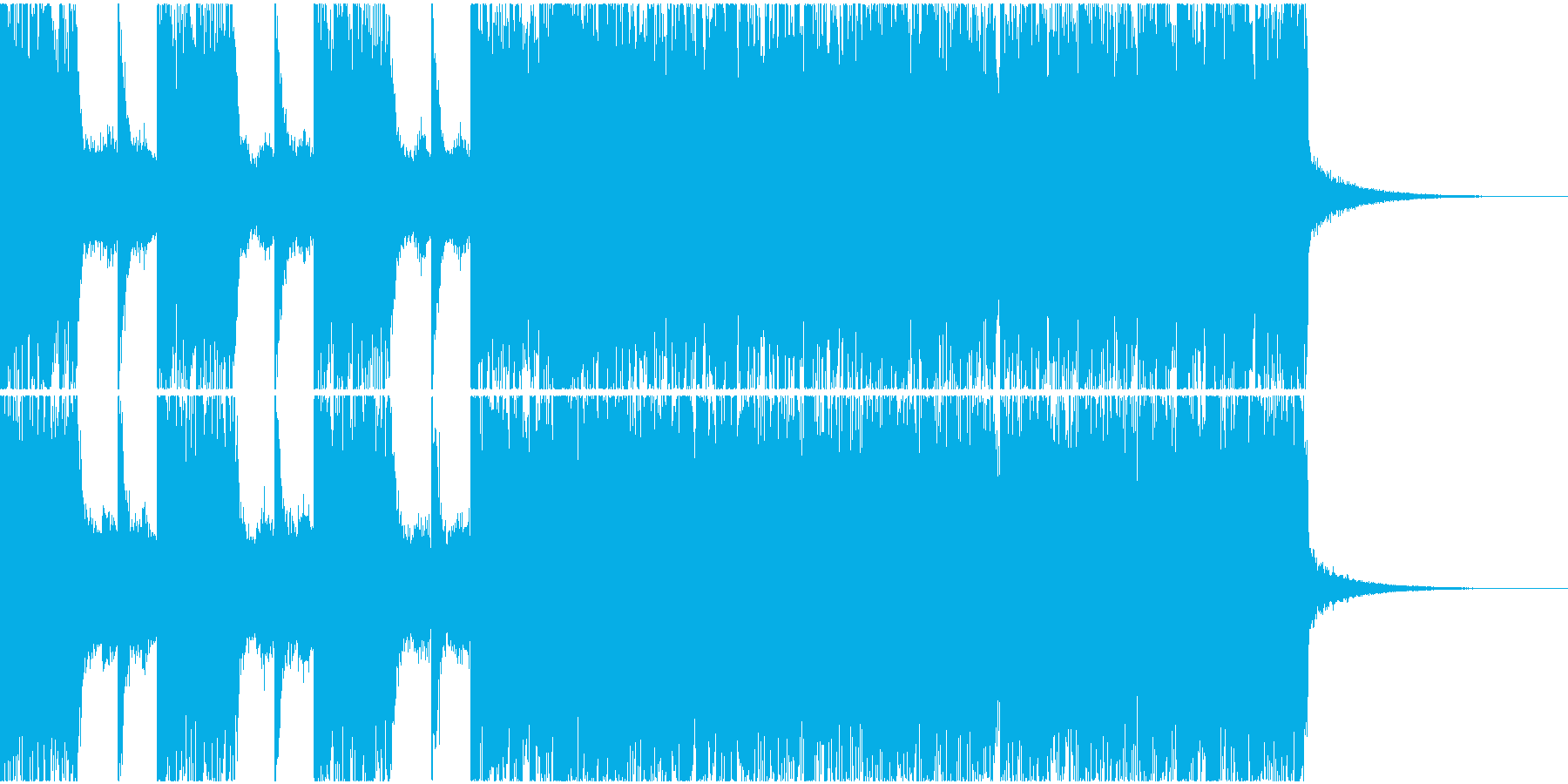 粗暴でダークなへヴィメタルジングルの再生済みの波形