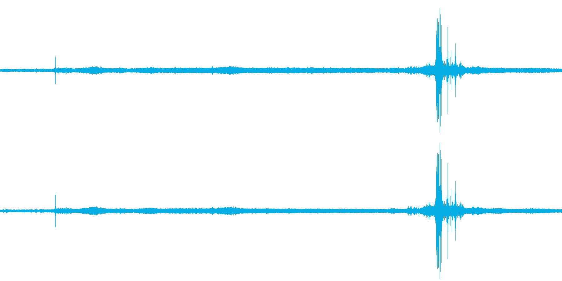 【生音】夏の日の雷 - 04 (蝉・雷…の再生済みの波形