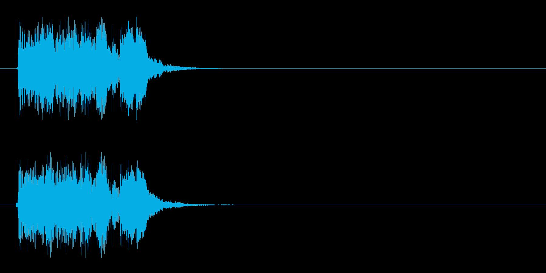 音が上がっていくようなシンセジングルの再生済みの波形