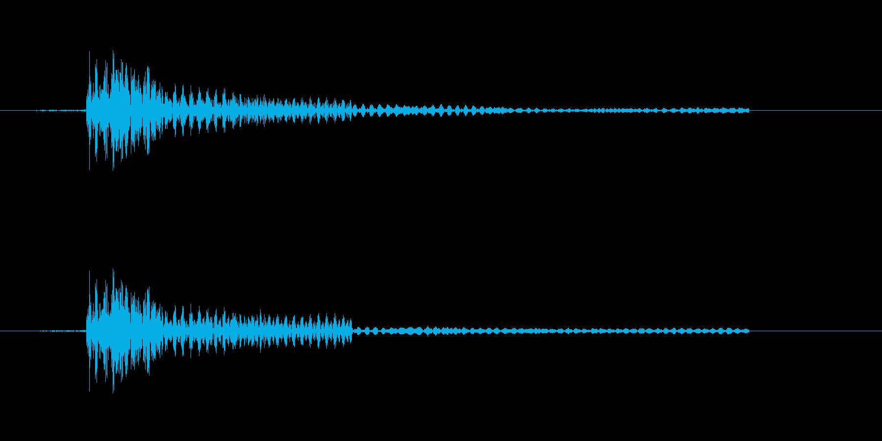 カチッなる軽快な効果音の再生済みの波形