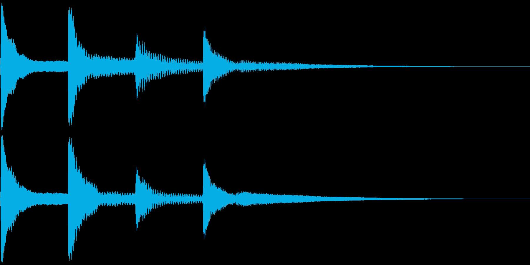 ピンポンパンポン。お知らせ音(開始)の再生済みの波形