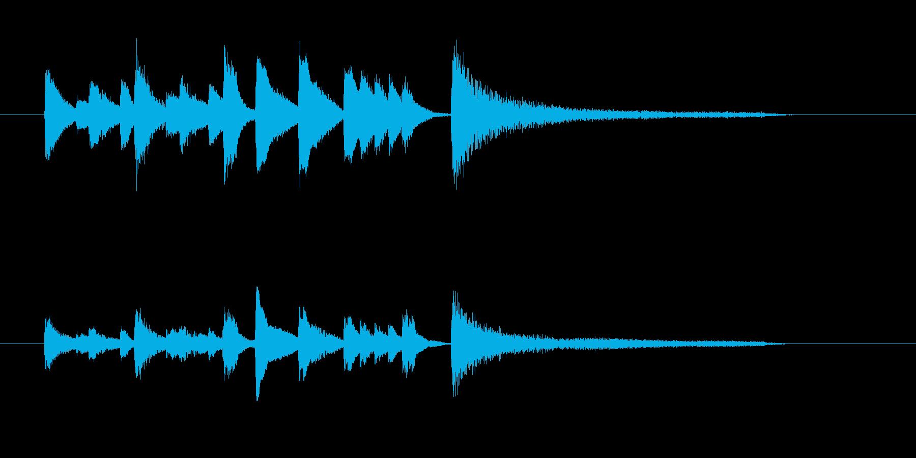 ジャジーなピアノのジングルの再生済みの波形