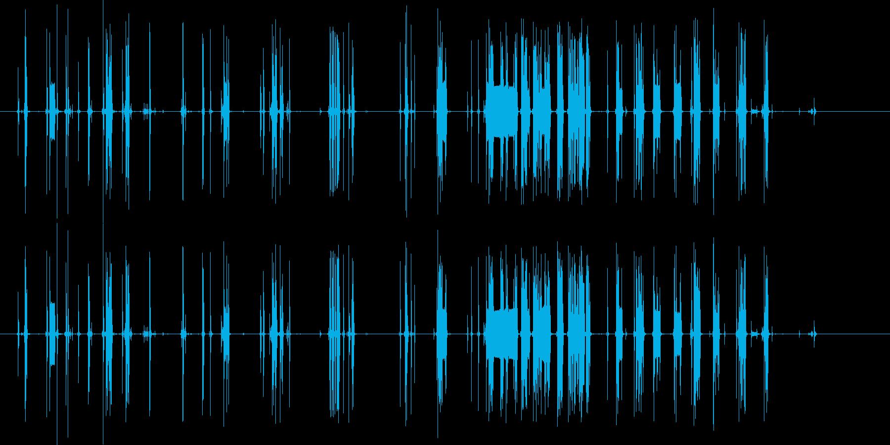 壊れたラジオのようなノイズの再生済みの波形