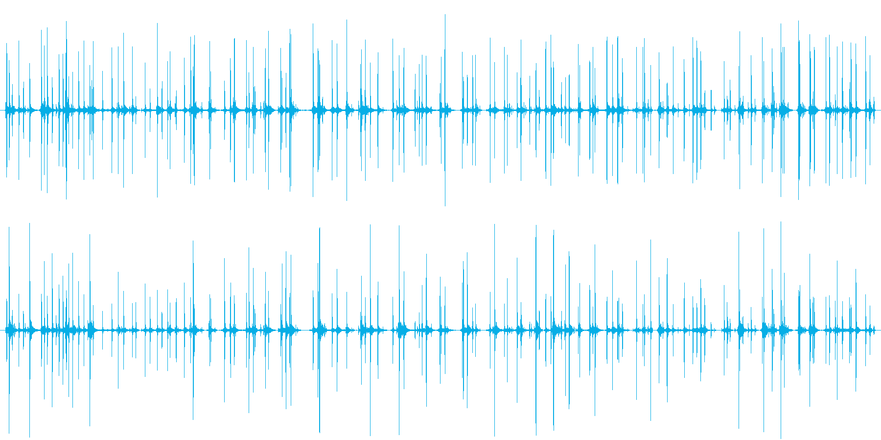 そろばんを弾く音 複数の再生済みの波形