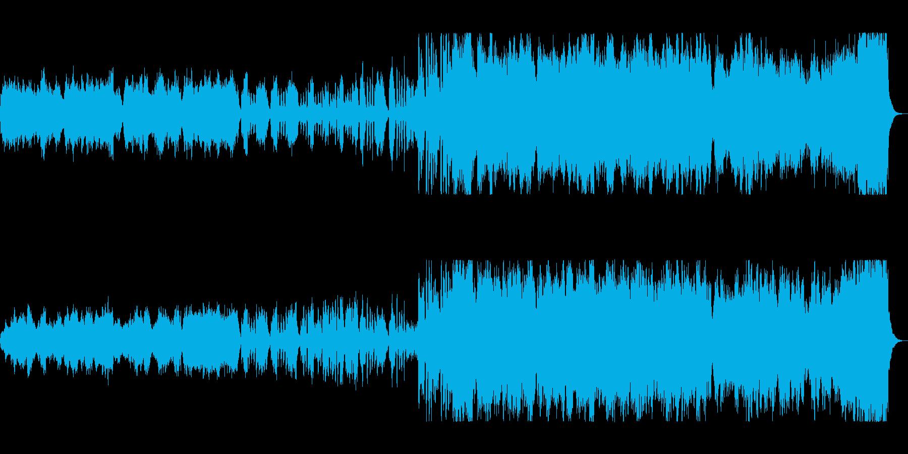 ゆっくりした広がりのあるオーケストラの曲の再生済みの波形