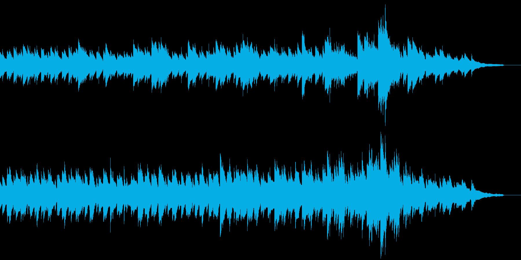 優しく柔らかい音色の映像用ピアノ曲の再生済みの波形