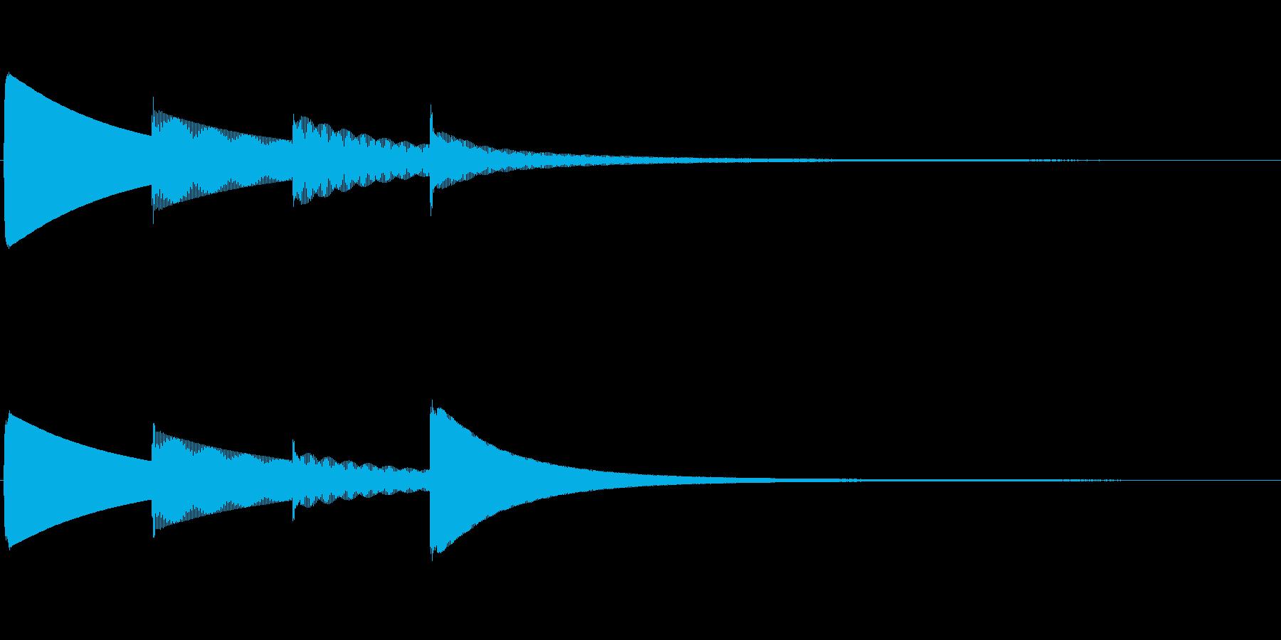 ピンポンパンポン(上昇)お知らせチャイムの再生済みの波形