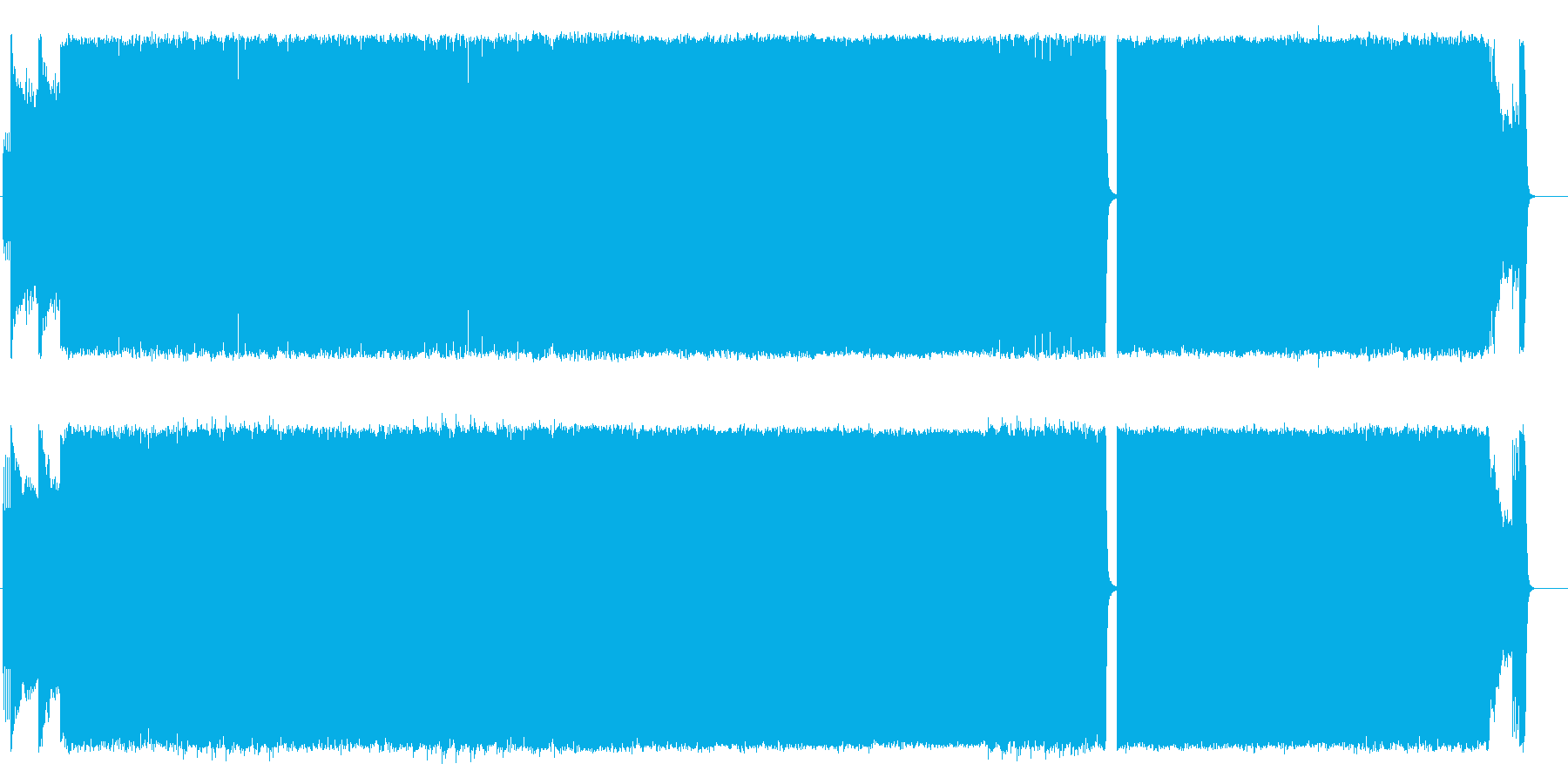 闘志あふれるスピード感のあるヘビメタの再生済みの波形