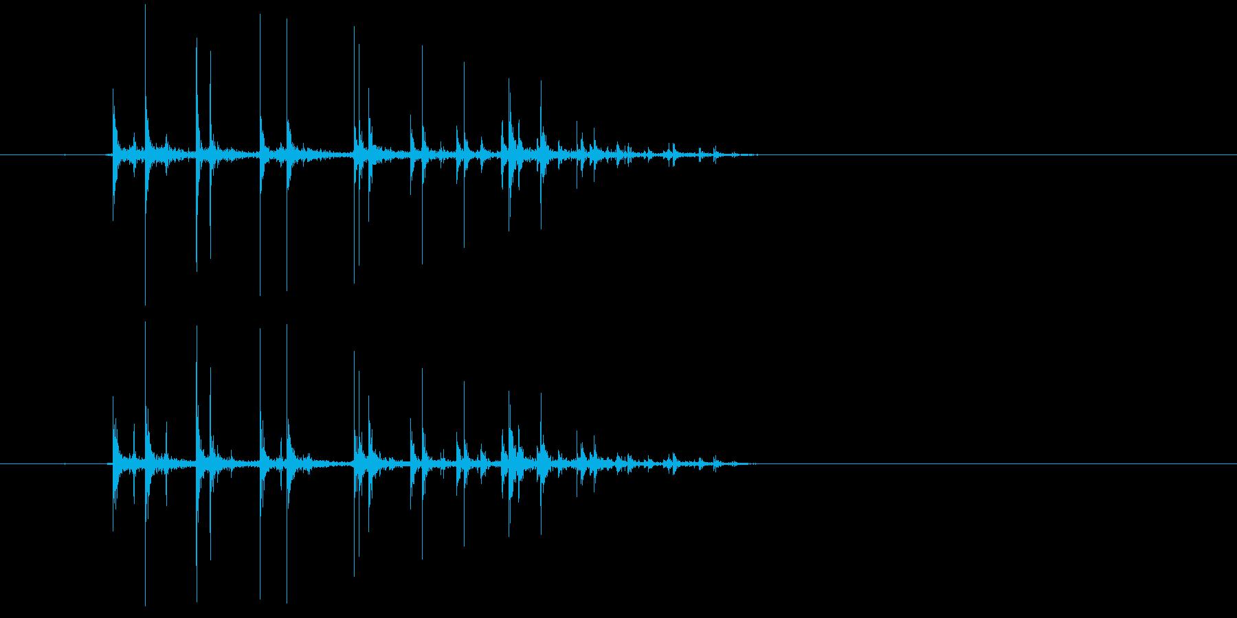 さいころを転がす音の再生済みの波形