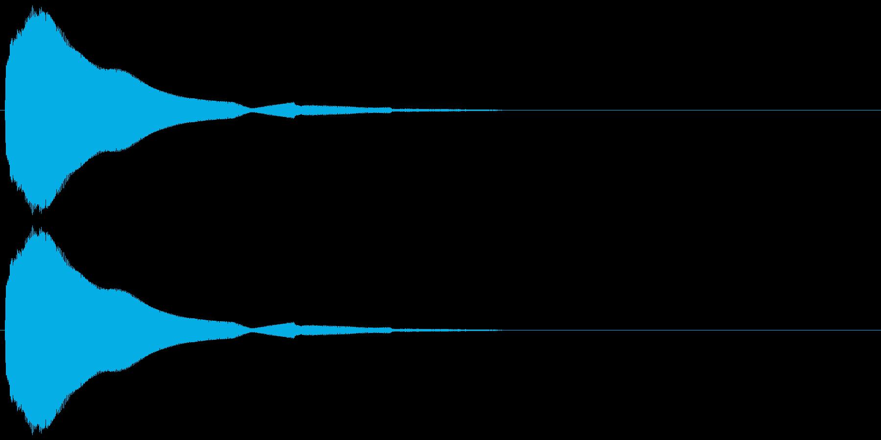 ビブラフォンとシンセで作ったボタン音の再生済みの波形