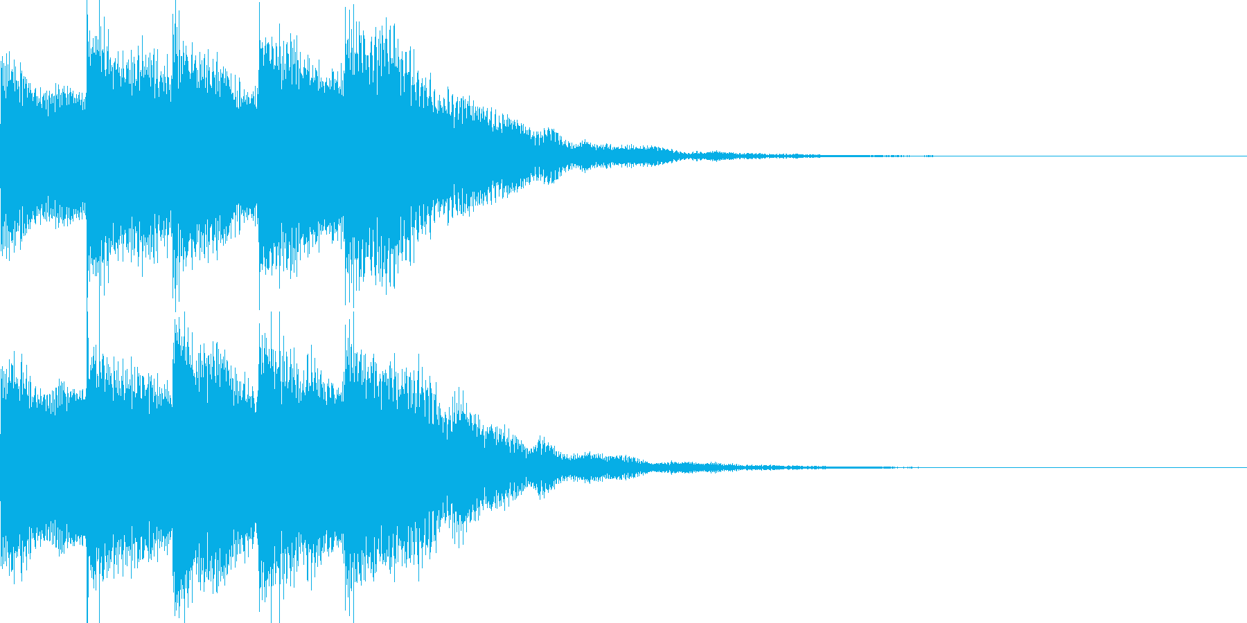 ピアノとドラムのロゴイメージ音の再生済みの波形