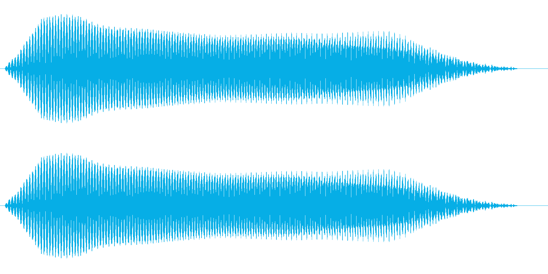 モォーオ(低く鳴く牛の声)の再生済みの波形