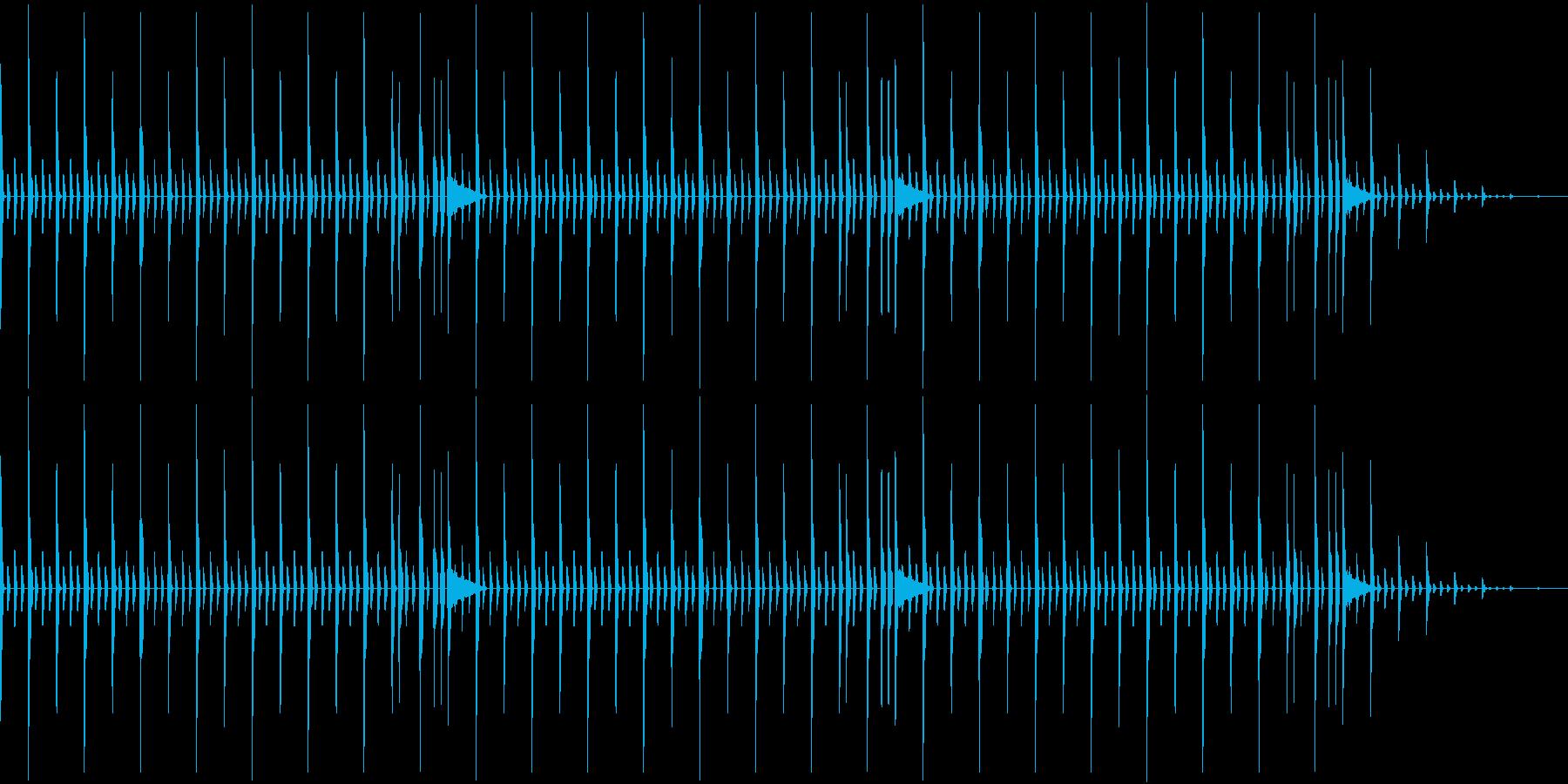 昔のパソコンの音源を使ったリズムループの再生済みの波形