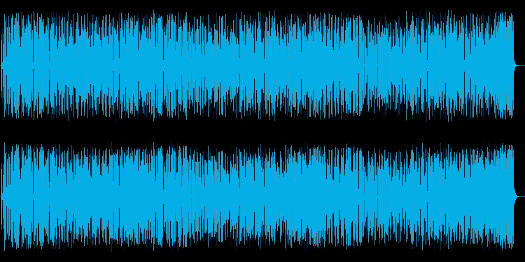 アップテンポで夕日が浮かぶミュージックの再生済みの波形