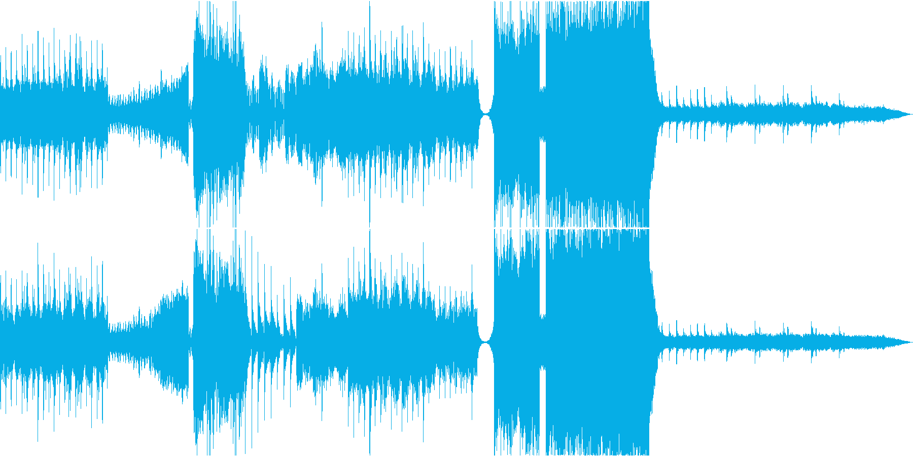 光の放射をイメージしたカラフルな曲の再生済みの波形
