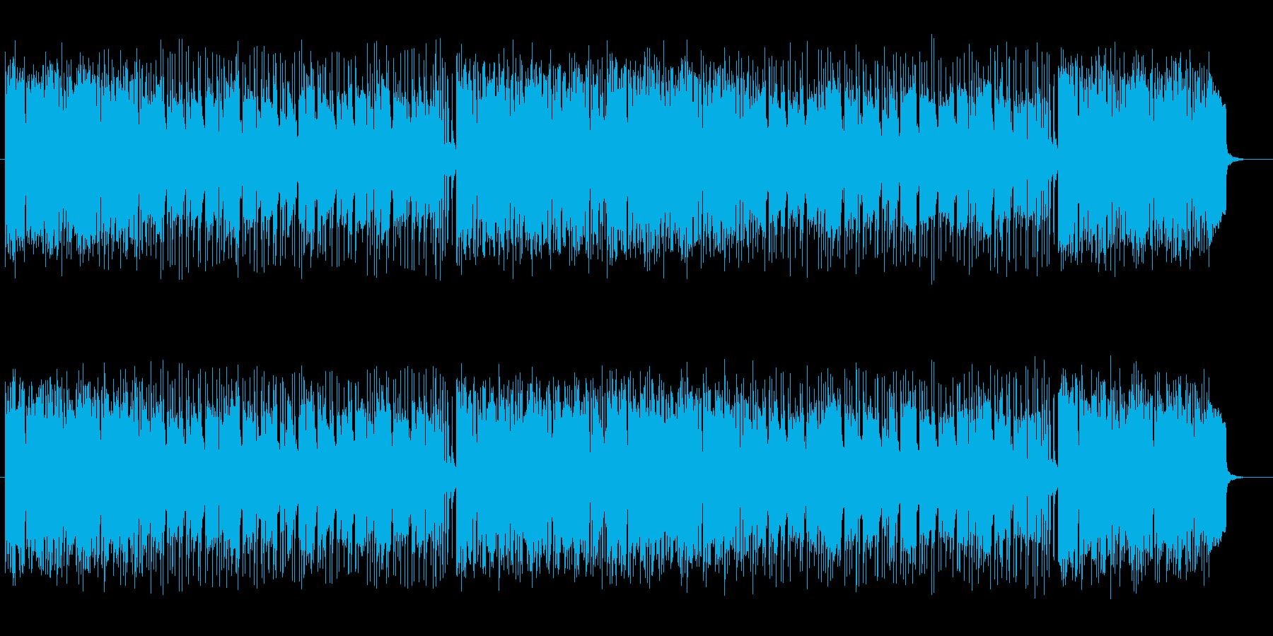 明るいアップテンポのシンセサイザーの曲の再生済みの波形