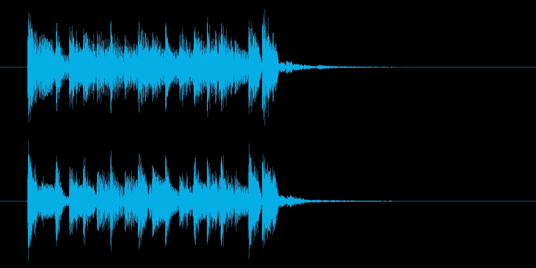 アップテンポで弾みのある短めの曲の再生済みの波形
