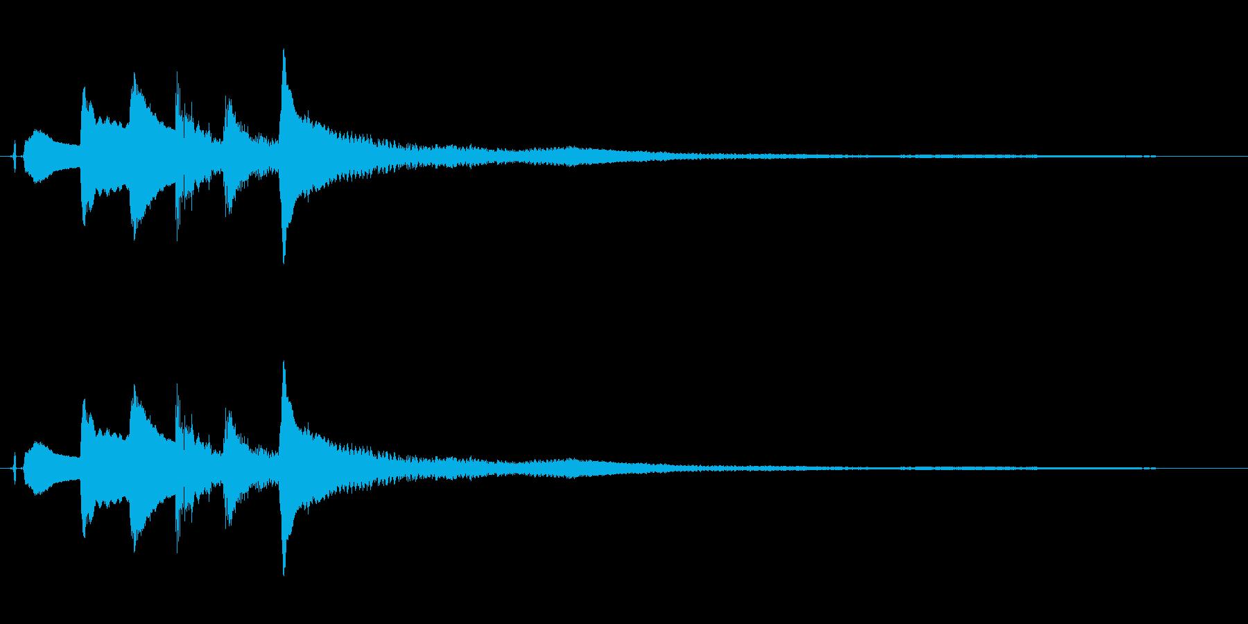 ピアノ。ホラーの発見音など。の再生済みの波形