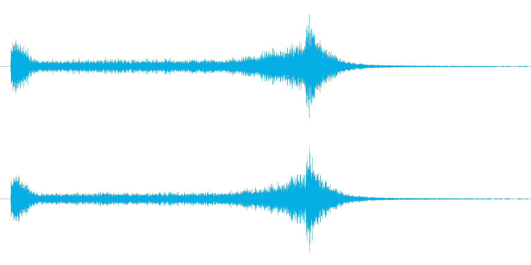 6秒間の豪華なドラムロールの再生済みの波形