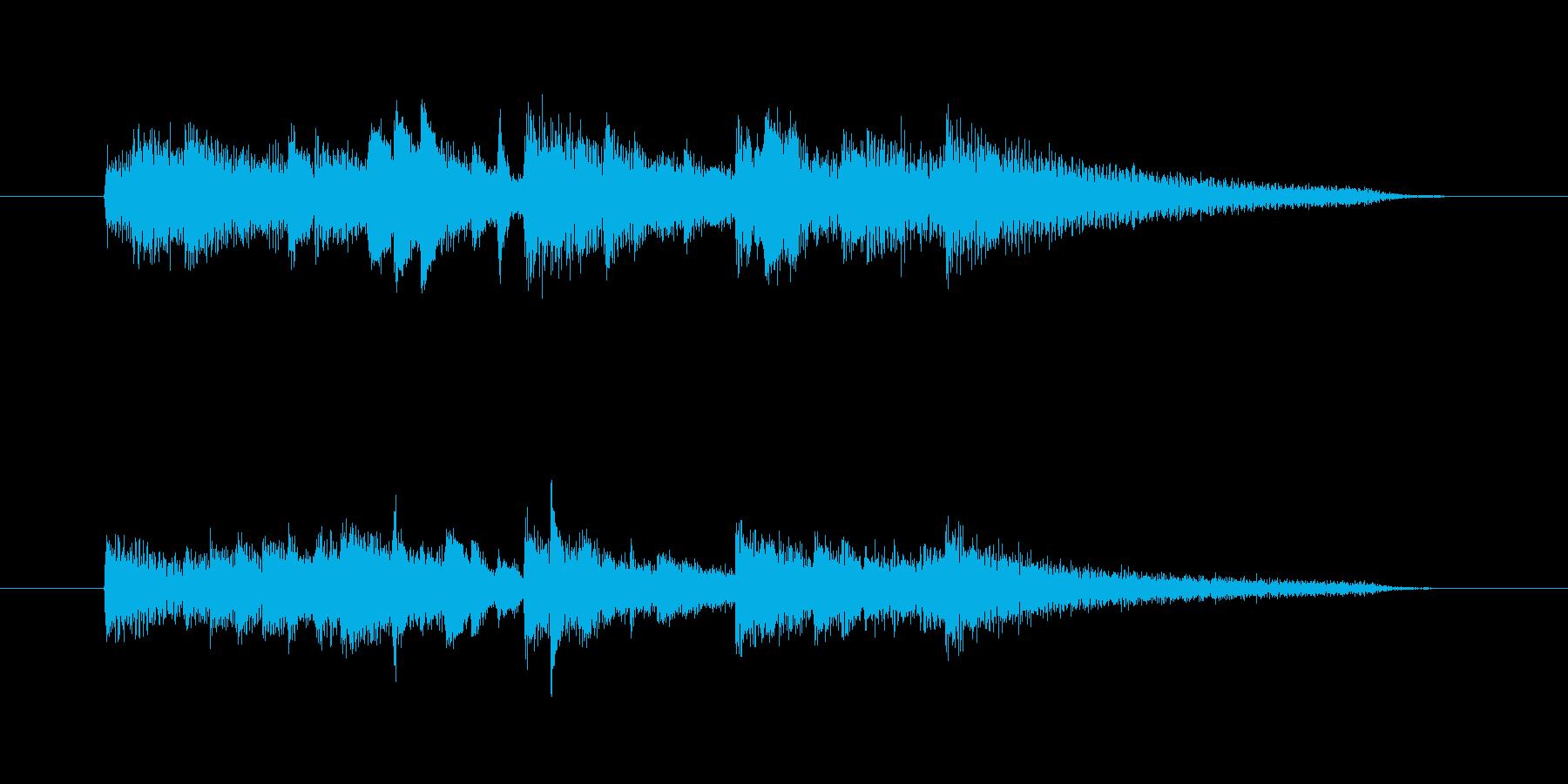 ピアノのおしゃれなアルペジオのジングルの再生済みの波形