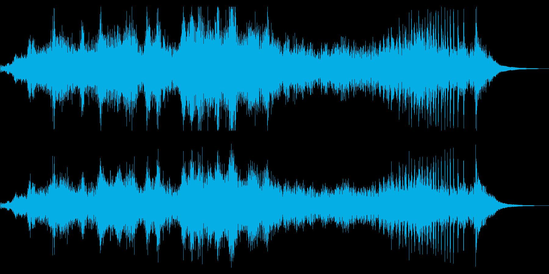 和太鼓やドラの不穏かつ激しいリズムの音楽の再生済みの波形