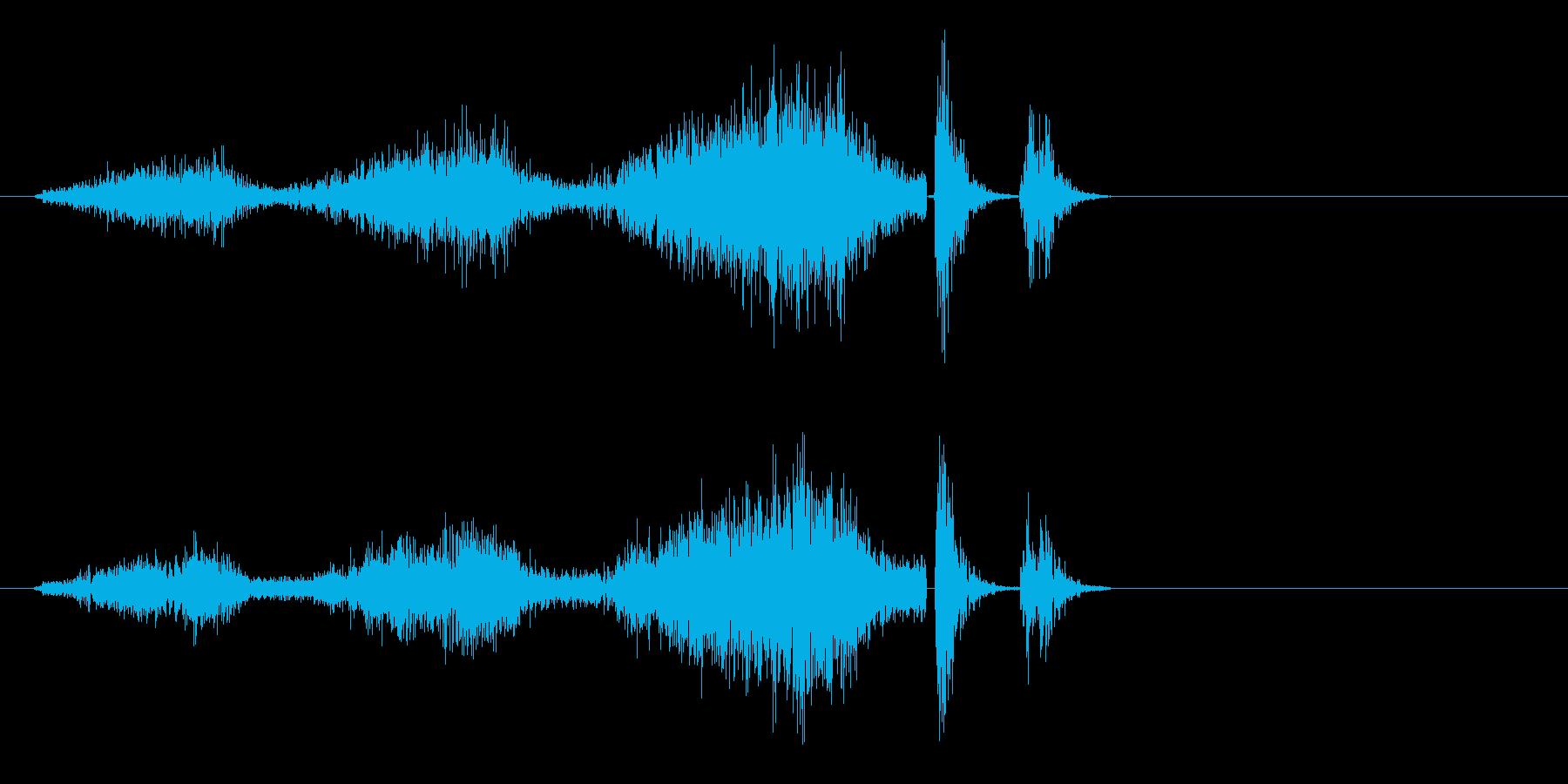 シュルシュルとマシンが停止する音の再生済みの波形
