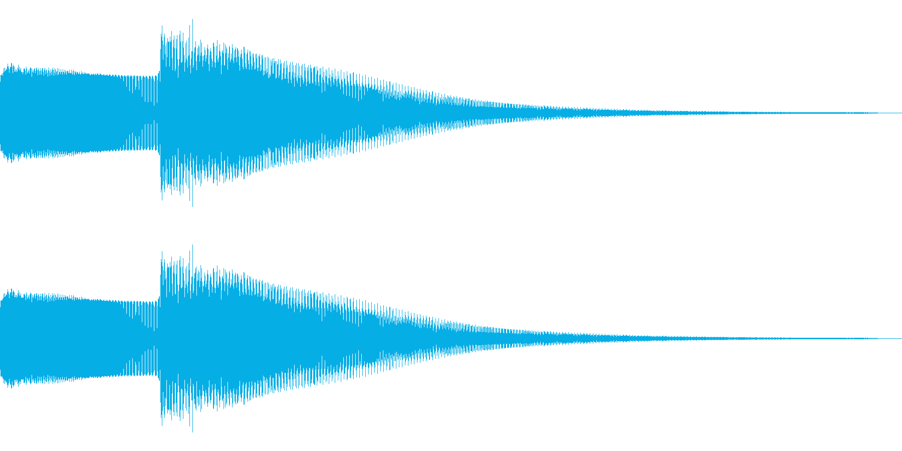 FM音源風クリック音、ボタン音の再生済みの波形