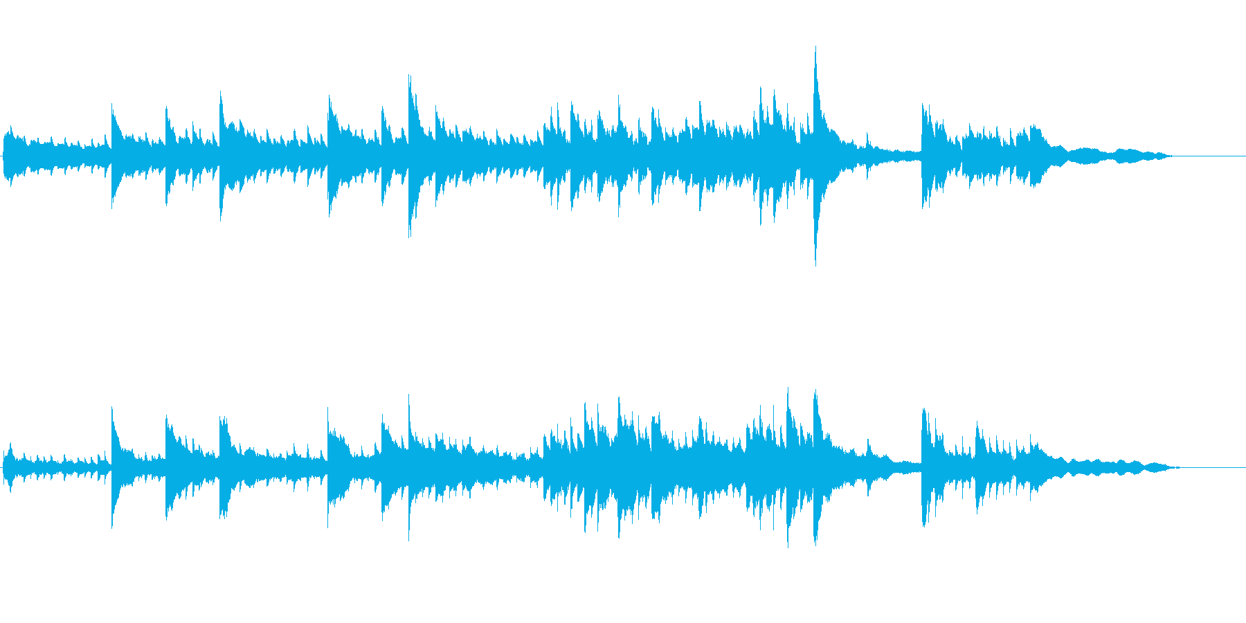 CM、映像向けのピアノソロBGMの再生済みの波形