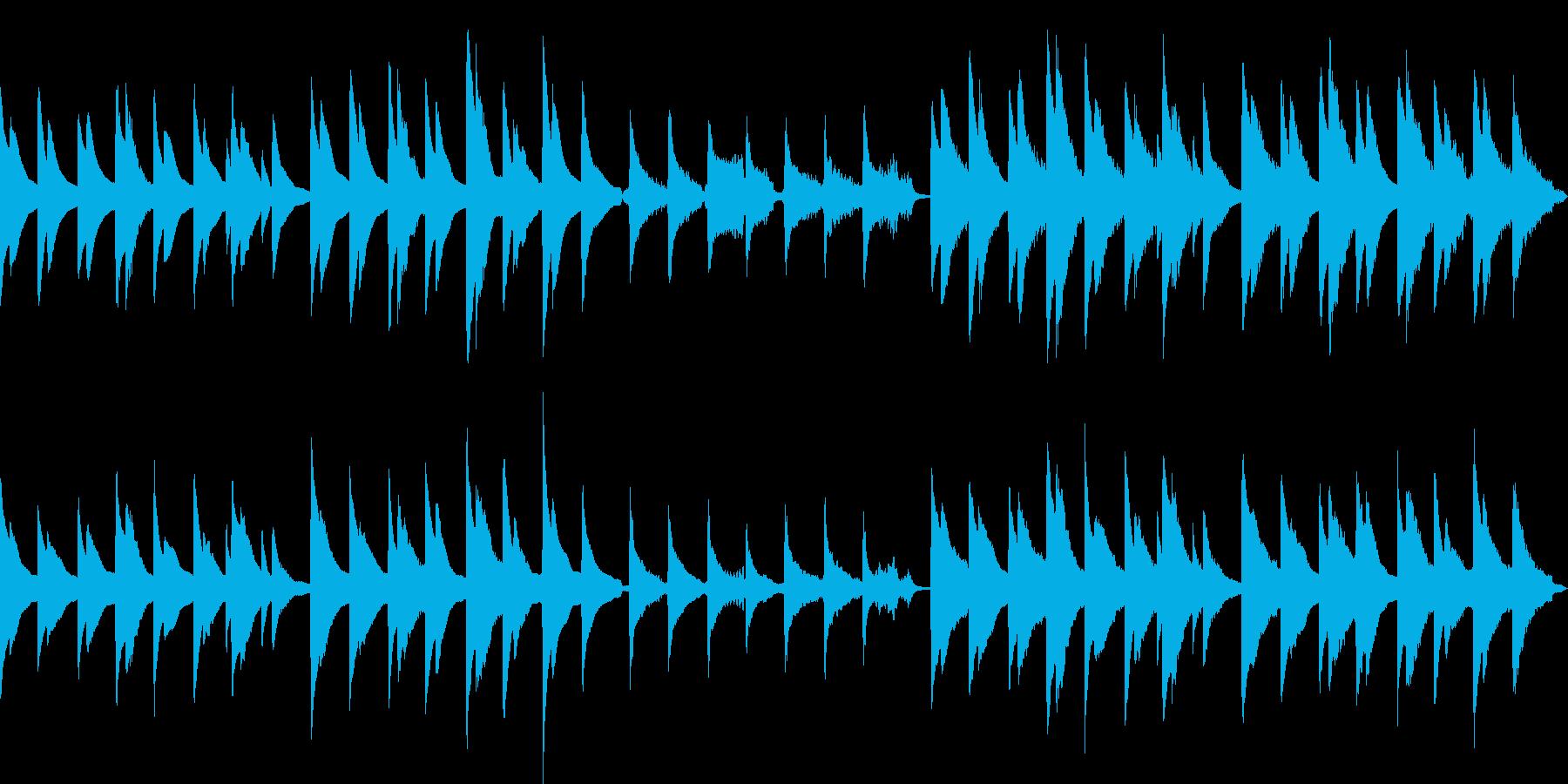 ピアノとバイオリンのゆっくりした優しい曲の再生済みの波形