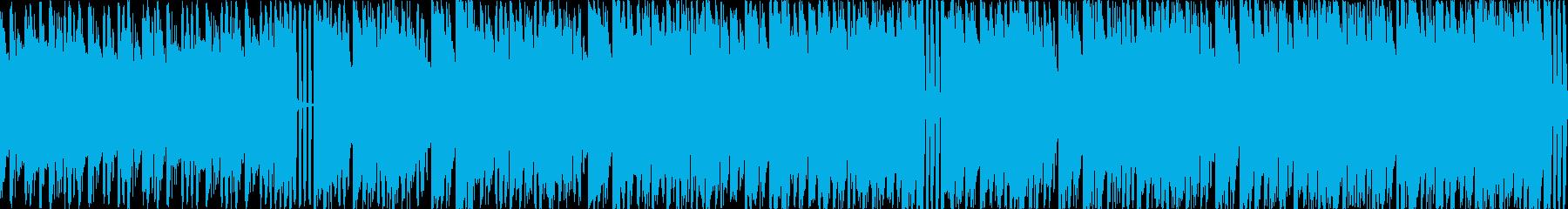 緊急事態 早いテンポで緊張間のある曲の再生済みの波形