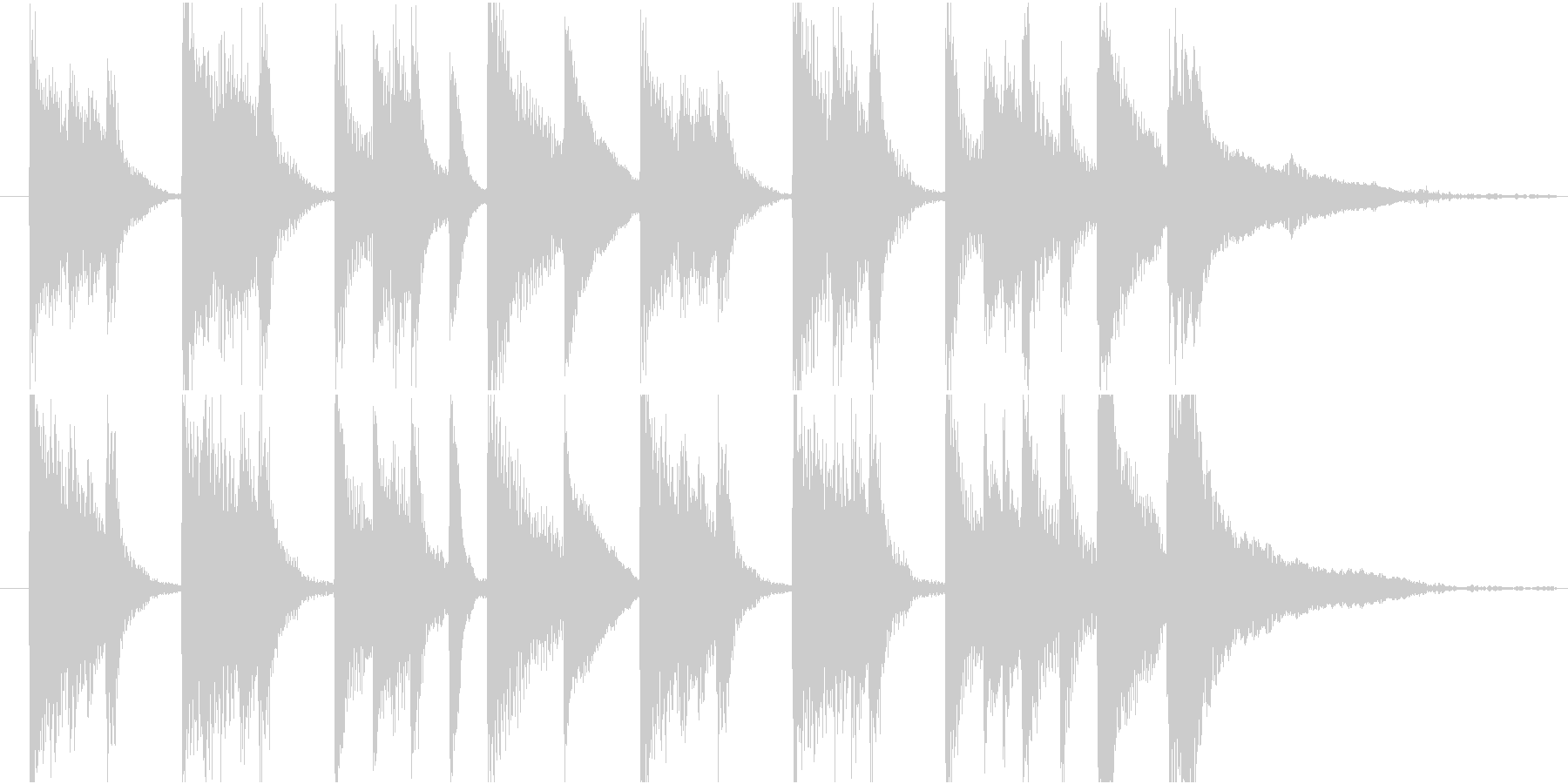 ピアノの明るく軽快なジングルの未再生の波形