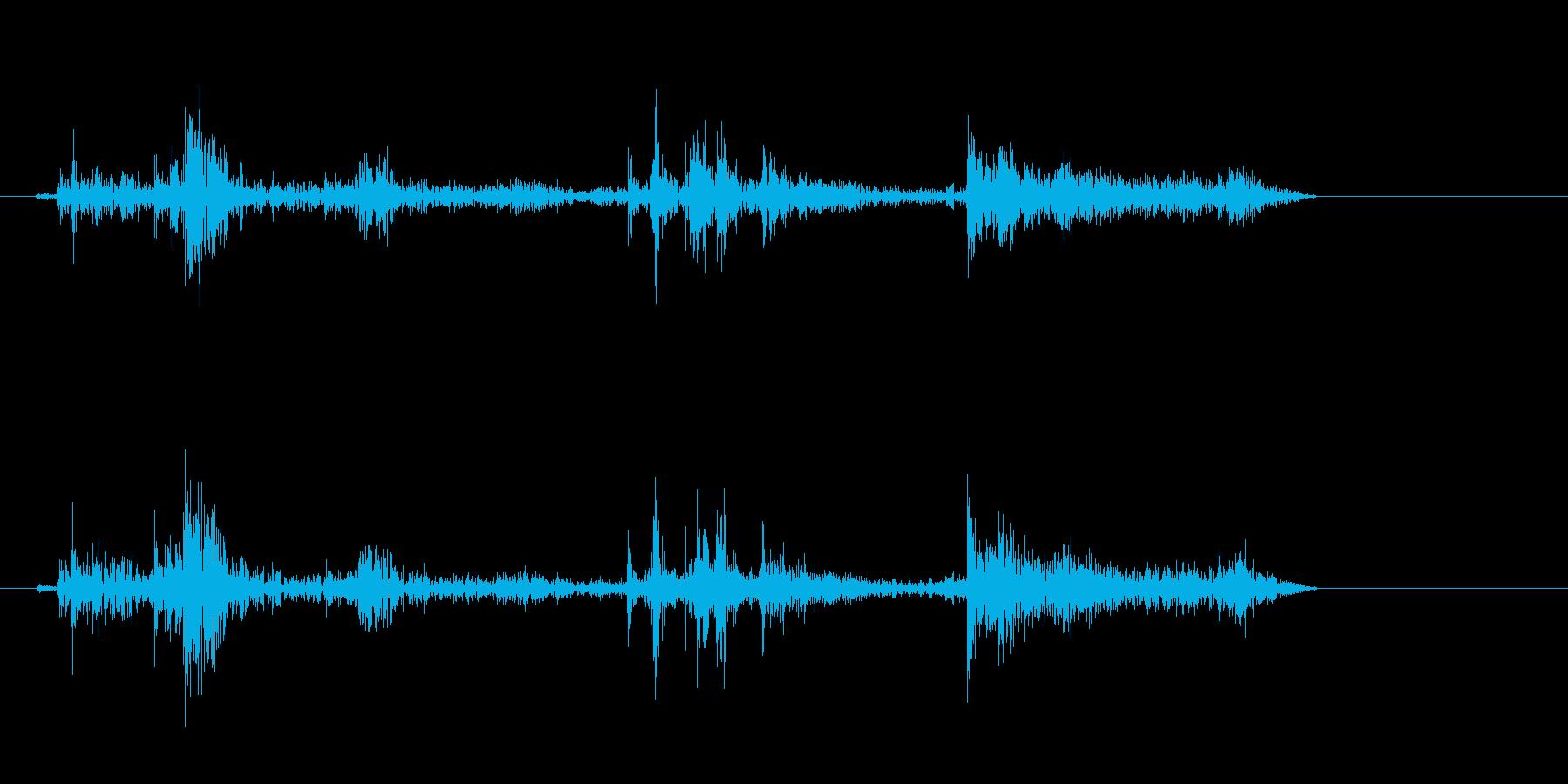 クシュル(紙が動く音)の再生済みの波形