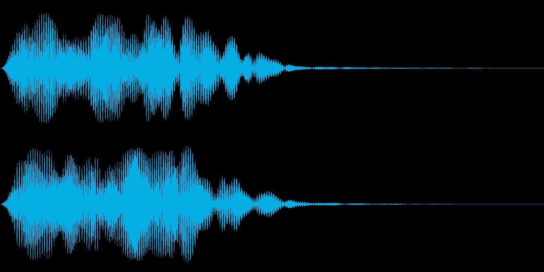 スペーシーな音階のシンセサイザー音の再生済みの波形