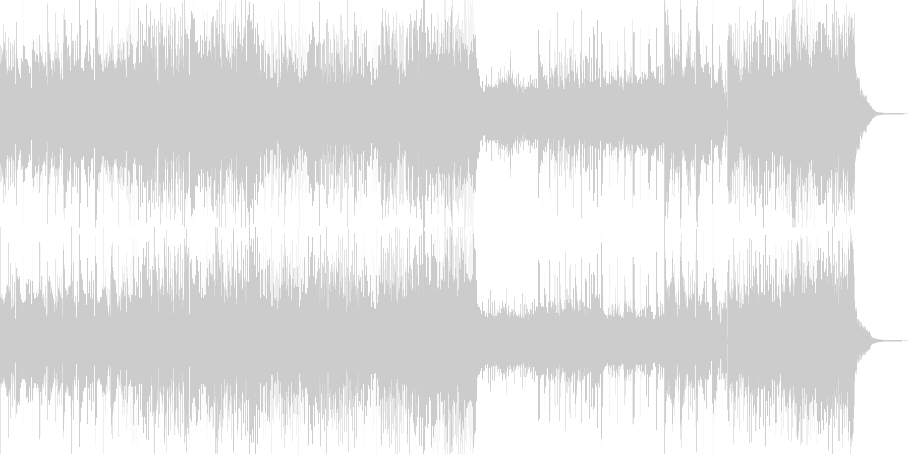 静かでゆらゆらするシンセとピアノの未再生の波形