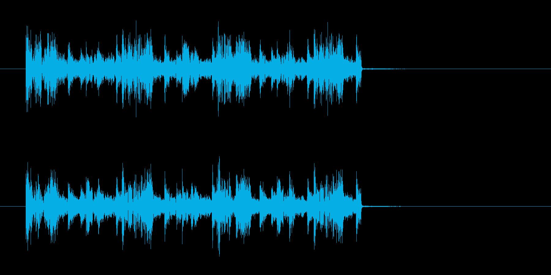 ギターの効いた短いロックの曲の再生済みの波形